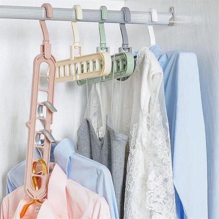 Combo 10 Móc Treo Quần áo đa Năng 9 Lỗ Tiết Kiệm Diện Tích Cùng Giá Khuyến Mãi Hot