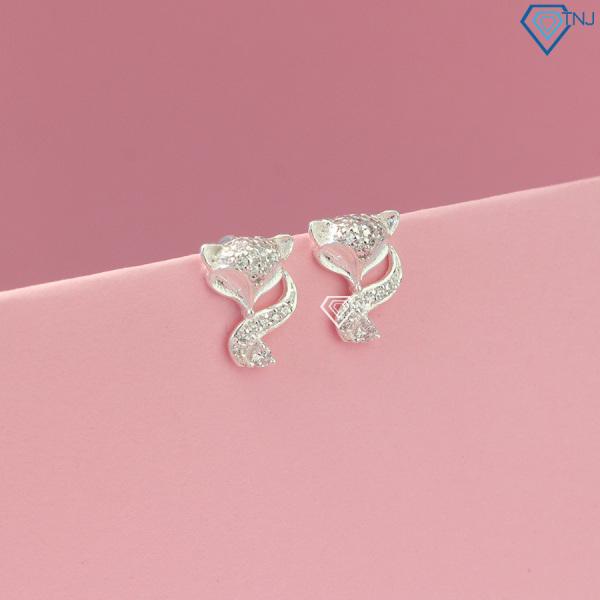 Bông tai nữ bạc thật - Khuyên tai bạc nữ hồ ly BTN0111 - Trang Sức TNJ