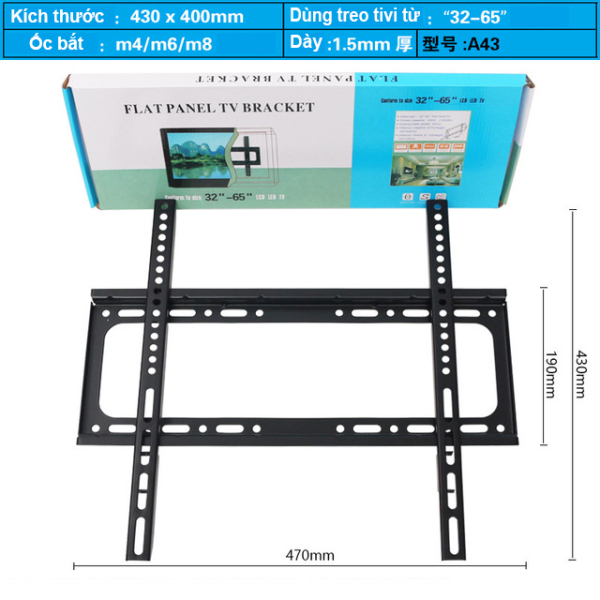 [Nhập ELMAR31 giảm 10% tối đa 200k đơn từ 99k]Khung treo Tivi áp tường cho mọi Tivi từ 26-65 inch (bản siêu dày tải trọng tới 65kg) - Hàng Nhập Khẩu