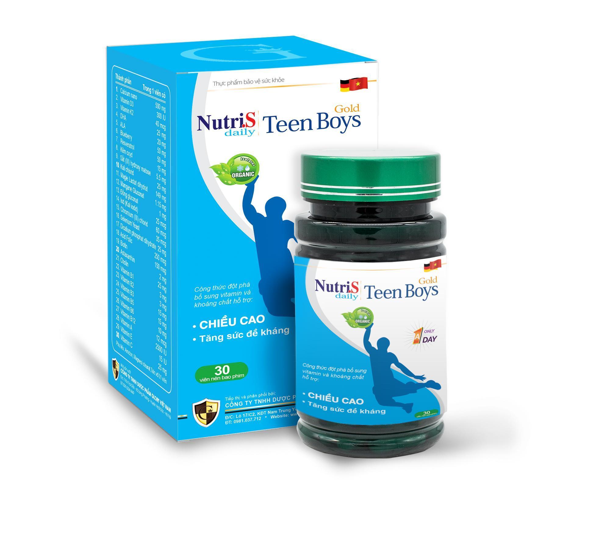 Thực phẩm chức năng tăng cường chiều cao cho trẻ Nutri.S Daily Teen Boys Gold - 1 hộp x 30 viên cao cấp