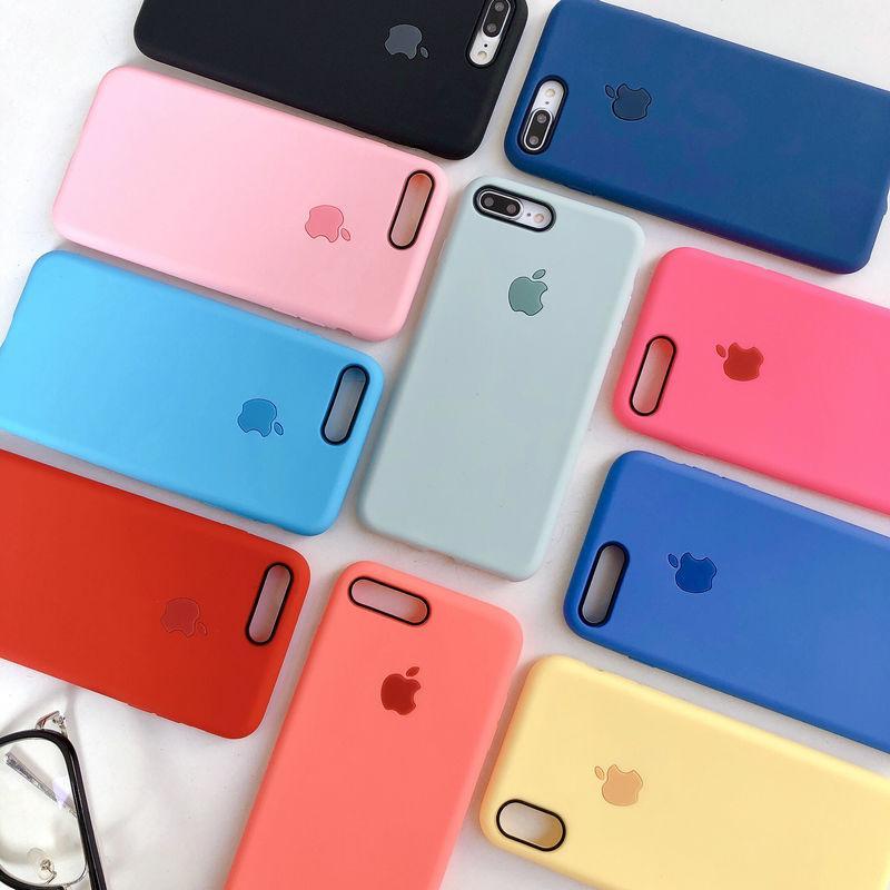 Giá Ốp lưng iphone chống bẩn màu trơn chất liệu mềm mịn kèm logo táo snag chảnh đủ mã 6 6s 6plus 6splus 7 8 7plus 8plus X XS XR XSMAX - op60