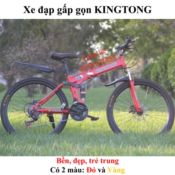 Mua Xe đạp gấp gọn thể thao địa hình dòng KINGTONG màu Đỏ và Vàng - DOHANGNHAMEI