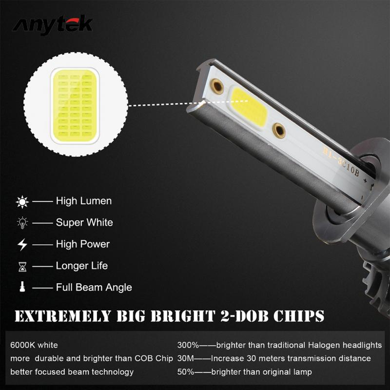 2x 4 Side HB3 9005 LED Headlight Bulbs Real 100W 10000LM High Low Beam 6000K