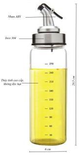 01 Chai dầu, Lọ, Bình đựng dầu ăn thủy tinh 300ml hình Bình Sữa Oil Can đựng dầu ăn, giấm, nước tương, nước mắm, gia vị, miệng vòi nhỏ giọt thumbnail