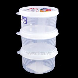 SET 3 HỘP TRÒN NHỎ 180ML ĐỰNG THỰC PHẨM NAKAYA - HÀNG NỘI ĐỊA NHẬT, dùng được trong lò vi sóng, làm từ nhựa PP cao cấp an toàn cho người sử dụng thumbnail