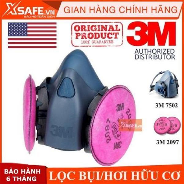 Mặt nạ phòng độc 3M 7502 bộ 3 món (kèm phin 3M 2097) - mặt nạ N95 phòng dịch, chống bụi, chống độc, khói hàn - lọc hơi hữu cơ nồng độ thấp- Chính hãng