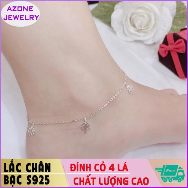 Lắc chân | Lắc chân bạc | Lắc chân nữ đính cỏ 4 lá Bạc S925 [FREESHIP] Hàng đẹp Khóa móc dễ dàng tháo lắp và tùy chỉnh kích thước #AZLC006 - Azone Jewelry