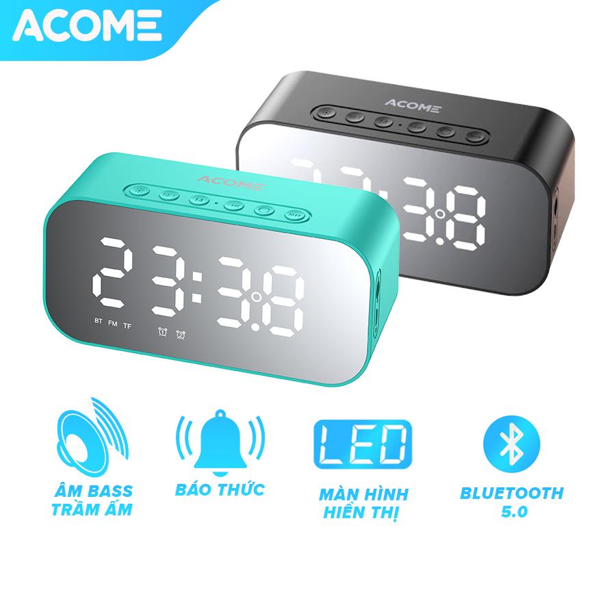Bảo Hành 12 tháng] ACOME A5 Loa Bluetooth đồng hồ 3in1 âm thanh HD sắc nét không rè âm bass trầm ấm công suất 5W phát được đài FM - HÀNG CHÍNH
