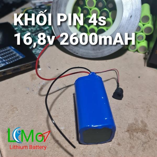 KHỐI PIN Lithium I-on 4S 16,8v (Pin cao cấp dòng xả cao 20A). Được đóng từ 4 cell Pin sạc Lithium ion và Mạch bảo vệ pin 4S 14,8v ~ 16,8v - LiMo