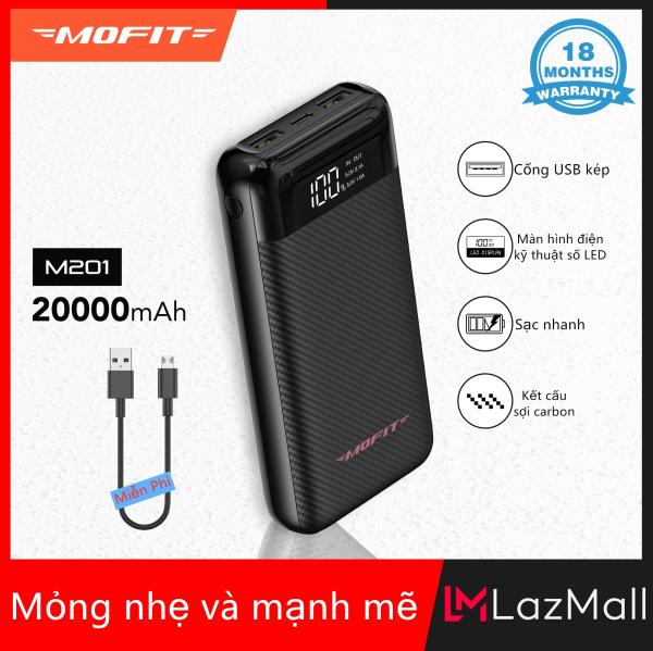[Siêu Sale][Hàng Quốc tế]Pin dự phòng Mofit M201 20000mAh 2.4A với màn hình kỹ thuật số LED  đầu vào Type C 2.0a đầu ra USB kép 2A