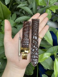 [K21] Dây đồng hồ da cá sấu màu NÂU vân HẠT TRÒN, phát hiện giả ĐỀN 10 LẦN TIỀN,TẶNG KÈM cây tháo lắp dây, dây đồng hồ da cá sấu nam, dây đồng hồ da cá sấu nữ thumbnail