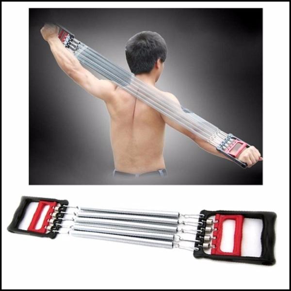 Dụng cụ tập gym – thể dục tại nhà – Dây kéo tay lò xo 5 sợi – Tác dụng kép cho tay ngực bụng săn chắc