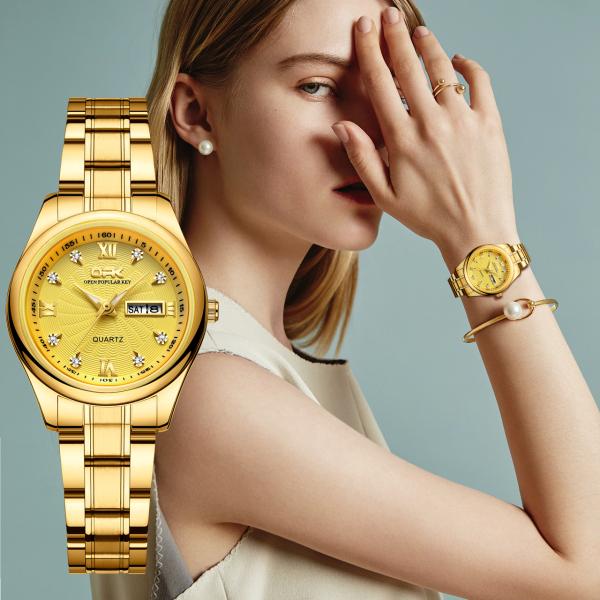 OPK Đồng hồ nữ chống nước bằng thép không gỉ Đồng hồ thạch anh mặt kính Sapphire thời trang có lịch phát sáng Cà Vạt Vàng Đen bán chạy
