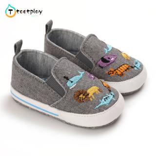 Tootplay 1 Đôi Giày Em Bé, Giày Trẻ Tập Đi Đế Mềm Thêu Hình Động Vật Bằng Vải Bố Cho Bé 3-12 Tháng Tuổi