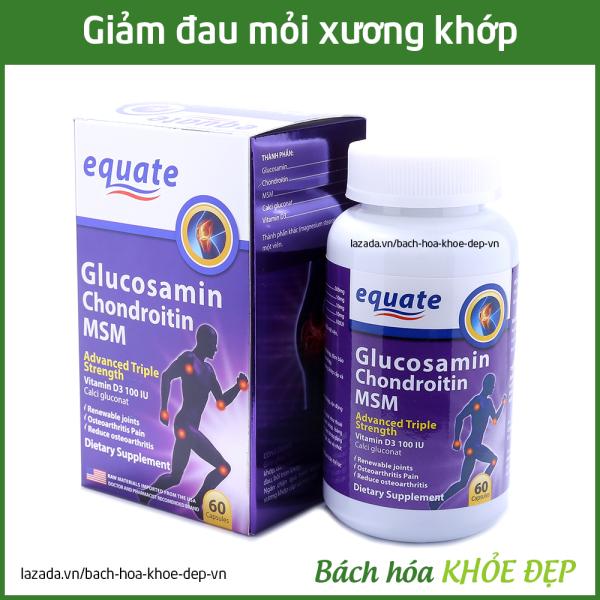 Viên uống bổ xương khớp Glucosamin equate giảm đau nhức mỏi xương khớp, giảm thoái hóa khớp - Hộp 60 viên mỗi ngày dùng chỉ 3 viên nhập khẩu