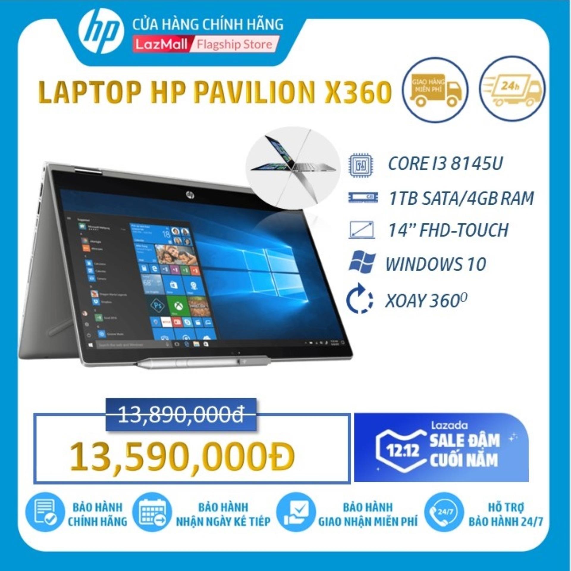 Laptop HP Pavilion x360 14-DH0103TU (Intel Core I3-8145U/ 4GB DDR4/ 1T SATA/ 14 FHD/WIN10 HOME/6ZF24PA) - Hàng Chính Hãng.