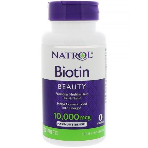 Viên Uống Mọc Tóc Natrol Biotin 10000mcg Hộp 100 viên Mỹ