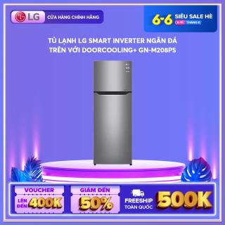 Tủ lạnh LG Smart Inverter ngăn đá trên với DoorCooling+ GN-M208PS 225L (Bạc) 55,5 x 152 x 58,5(cm) - Hãng phân phối chính thức