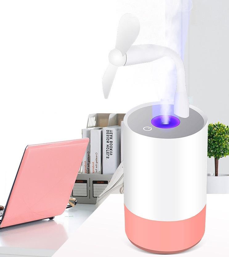 Máy phụn sương tạo độ ẩm không khí tiện dụng có quạt mini và đèn