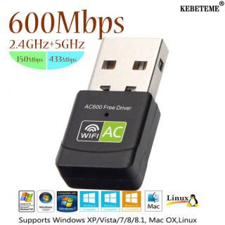 KEBETEME Bộ Chuyển Đổi USB WiFi 600Mbps Ăng Ten WiFi 2.4GHz 5GHz Bộ Thu Card Mạng Máy Tính Không Dây Mini Băng Tần Kép