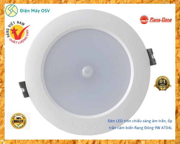 Bóng Đèn LED tròn chiếu sáng gắn trần, ốp trần cảm biến Rạng Đông 9W AT04L