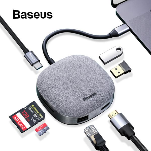 Bảng giá Bộ Chuyển đổi Baseus 7 in 1 Fabric USB Hub Type C to HDMI , RJ45 , SD card , USB 3.0 , PD cho Macbook, Laptop, Tablet và điên thoại Phong Vũ