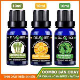 Combo 3 chai tinh dầu AROMA Sả Chanh, Cam Ngọt, Bạc Hà tinh dầu nguyên chất thiên nhiên 10ml thumbnail