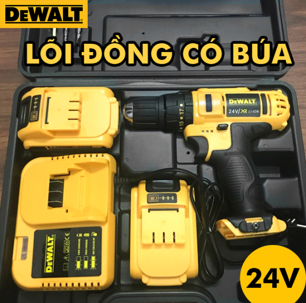 [ TẶNG MŨI KHOAN ] Máy Khoan Pin Dewalt 24V - Máy Khoan Trên Nhiều Bề Mặt , Bắt Vít , Bê Tông , Tường , Thép , Gỗ