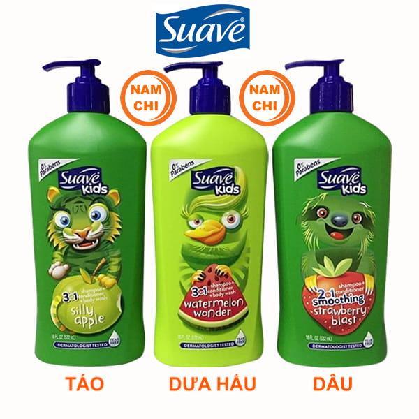 Sữa tắm gội xả Suave Kids 3 in 1 532ml (TÁO - DƯA HẤU - DÂU)