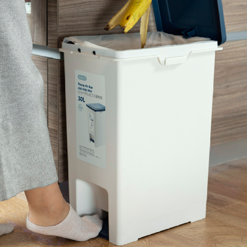 Thùng rác chân đạp Hiro 30L, 20L hàng xuất Nhật Bản công nghệ Ag+ (ion bạc) kháng khuẩn khử mùi