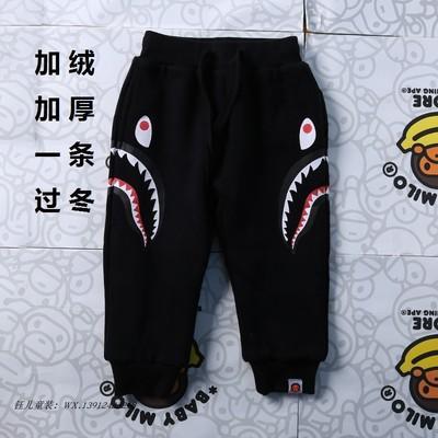 Quần nỉ Joger dài Bape Kids Shark Đen (Size theo chiều cao của trẻ)