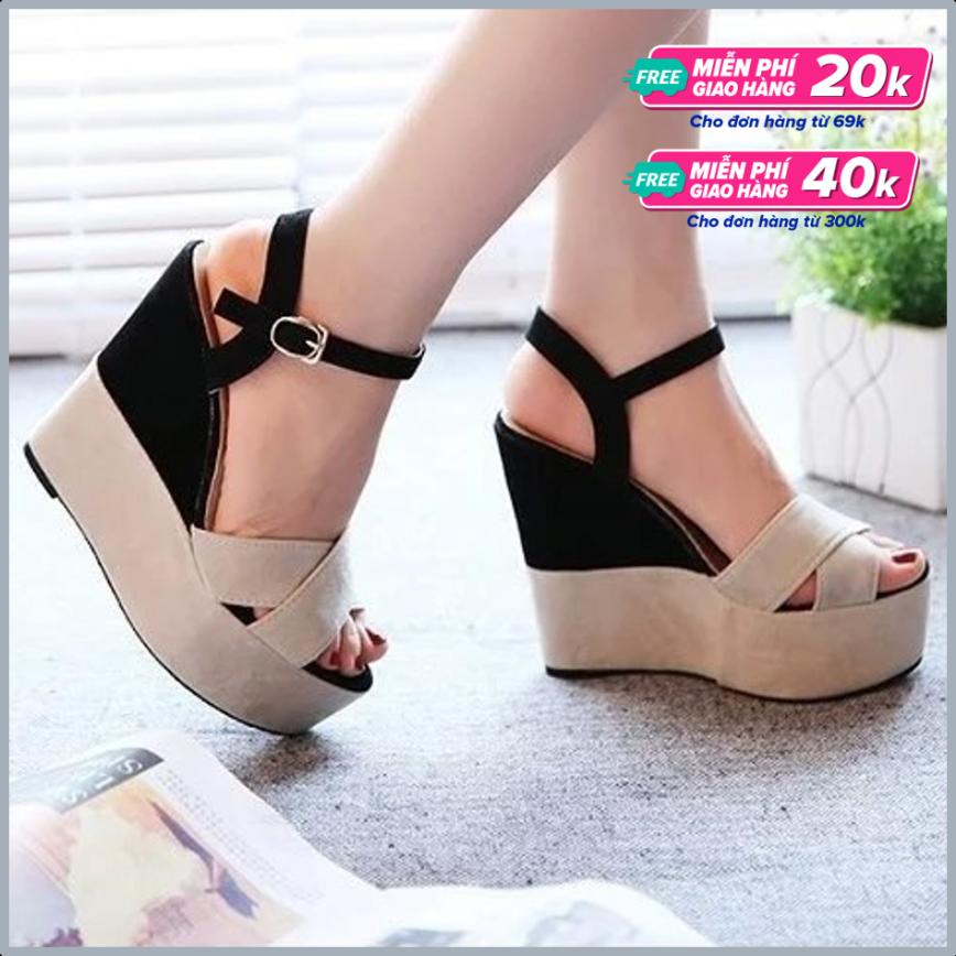 Giày Sandal Nữ Đế Xuồng Quai Đan Chéo Bảng To Thời Thượng 10cm giá rẻ