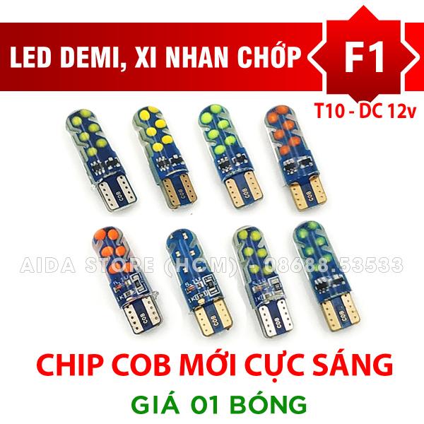 [HCM]01 bóng LED T10 COB chớp F1 cho demi xi nhan cực sáng DC12v
