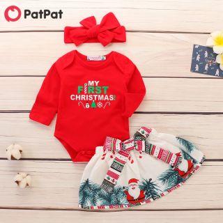 PatPat Bộ Áo Liền Quần Giáng Sinh 3 Món Và Váy Ông Già Noel Với Bộ Băng Đô, Quần Áo Bộ Áo Liền Quần Ôm Sát Dành Cho Nữ-z