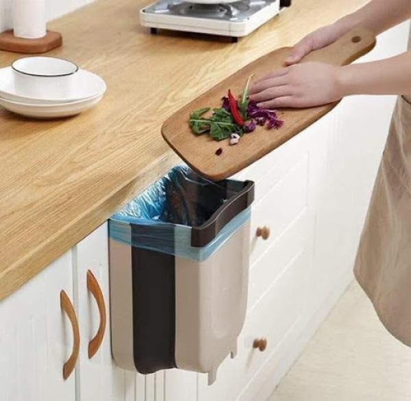 Thùng rác gấp gọn đa năng treo tủ bếp , sau ghế ô tô tiện dụng