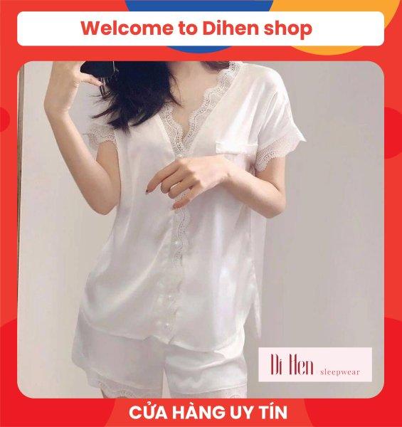 Nơi bán Bộ đồ ngủ nữ đùi Ren trơn - Quần áo mặc nhà nữ -Lụa Satin cao cấp - Hàn Quốc- Mềm mịn, thoáng mát, sang trọng- Dihen Sleepwear 3129