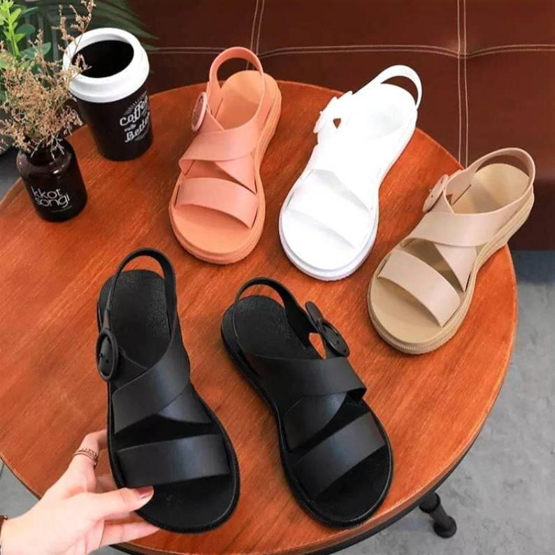 Giày Sandal Nữ Nhựa Dẻo Đi Mưa Hapu (Đen, Hồng, Kem) - GL008 giá rẻ
