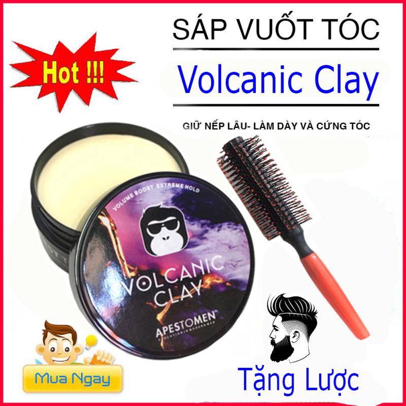 [TẶNG LƯỢC]Sáp Vuốt Tóc VOLCALIC CLAY dành cho Nam/Nữ 100ml ( BẢN ĐEN)wax vuốt tóc/ keo vuốt tóc/ sap vuot toc