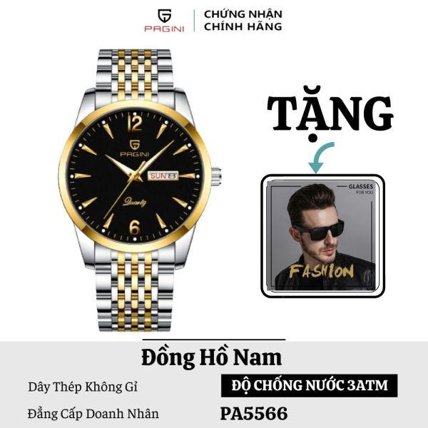 Nơi bán ( Tặng Kính Mắt Nam ) Đồng Hồ Nam PAGINI PA5566 Dây Thép Không Gỉ Kim Dạ Quang - 2 Lịch