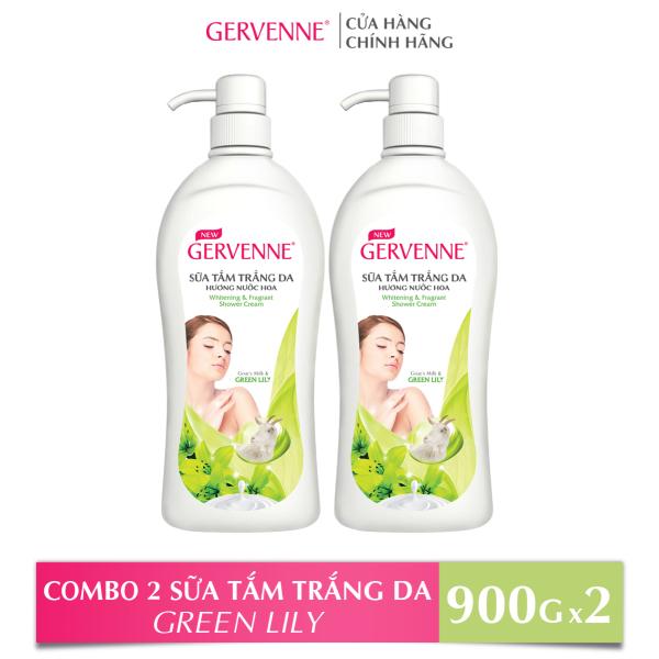 Gervenne Combo 2 Sữa tắm Trắng da Hương nước hoa Green Lily (900g/chai)