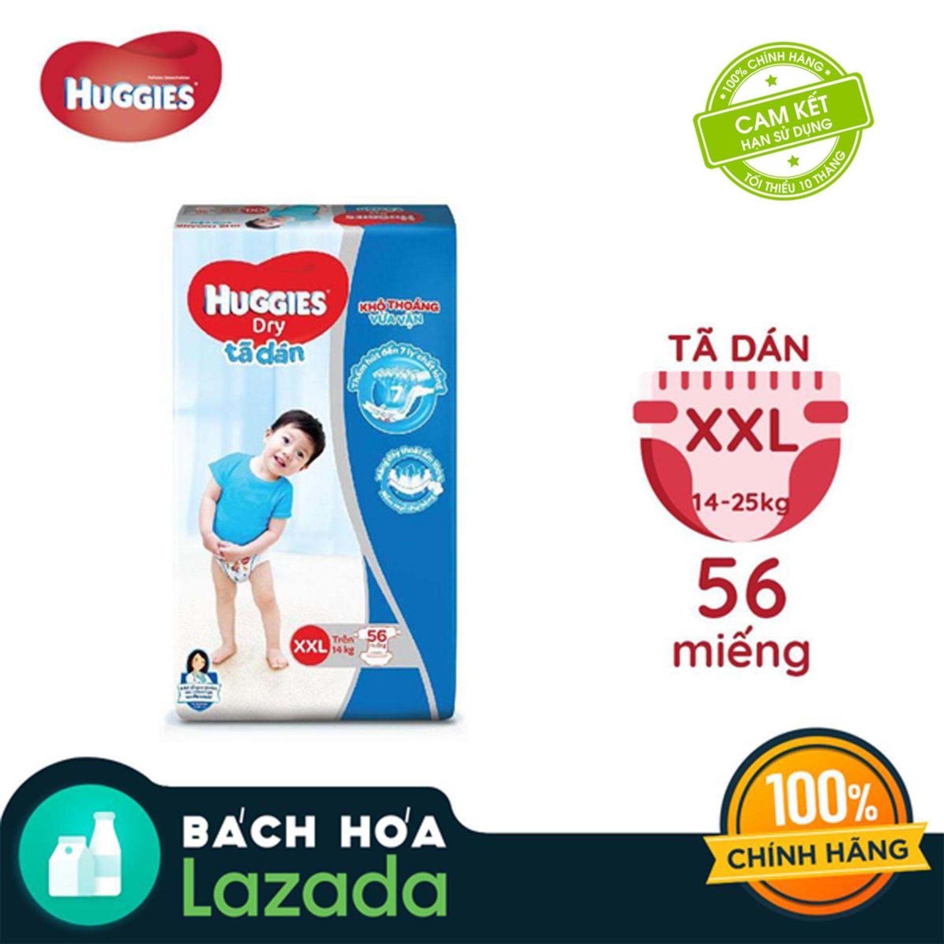 Tã/bỉm dán Huggies Dry Super Jumbo XXL56 - Gói 56...