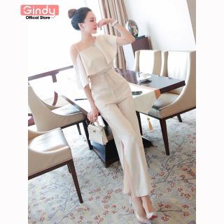 Set bộ quần áo GINDY lụa vĩ cầm áo hở vai quần xẻ tà S10060 thumbnail