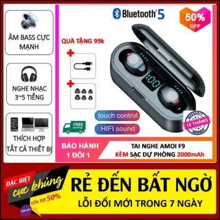 Tai Nghe Bluetooth Amoi F9 Phiên Bản Pro Quốc Tế Đàm Thoại 4h - 6h , Nút Cảm Ứng, Đèn Led Hiển Thị Pin - Tai nghe bluetooth không dây AMOI F9 Cảm ứng - Tai nghe bluetooth cho mọi dòng máy thumbnail