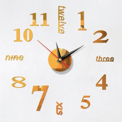 Nơi bán Đồng hồ dán tường + Pin, treo tường số & chữ tiếng anh 40x40 - Nhiều mẫu - DH76