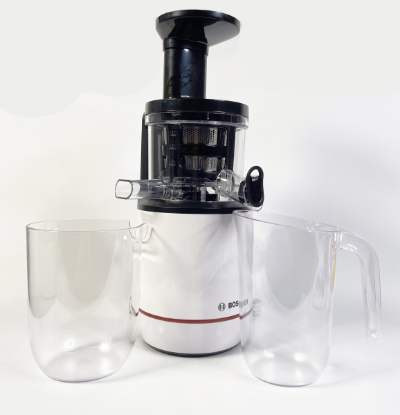 Máy ép chậm BOSCH MESM 500W nhập khẩu Đức - Máy ép trái cây màu trắng công suất 500W, làm bằng nhựa cao cấp không chứa BPA, ít tiếng ồn, nước ép chất lượng