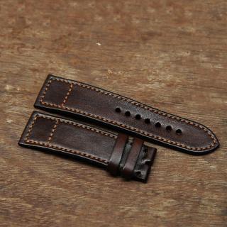 Dây đồng hồ nam da bò handmade mỏng mầu nâu - Dây đồng hồ handmade nam da bò nhập khẩu - Dây đồng hồ Mino Crafts DD254 thumbnail