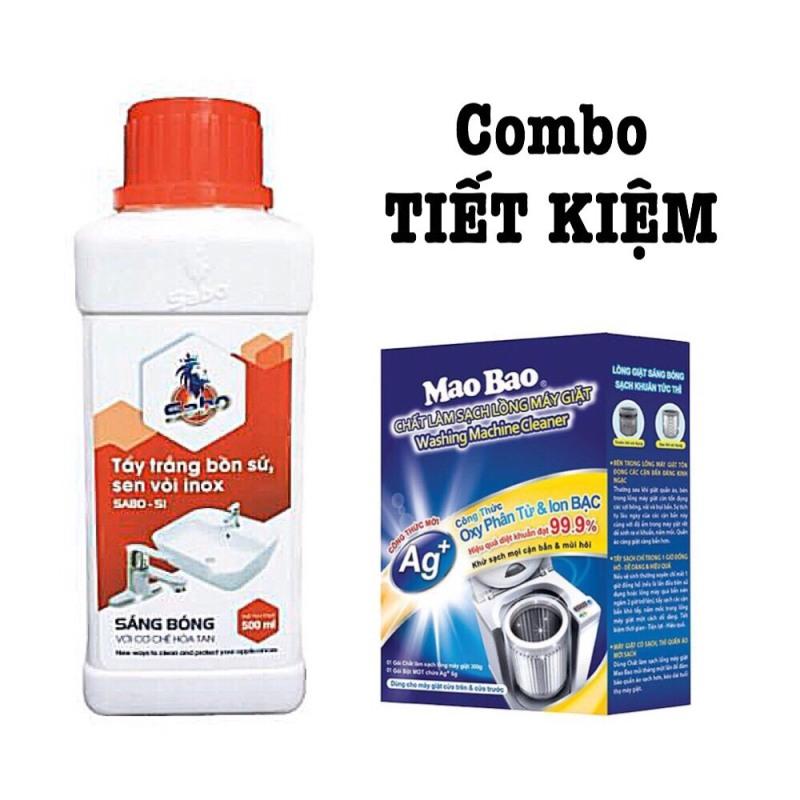 [Dùng là sạch] COMBO 1 TẨY ĐA NĂNG SABO SI + 1 TẨY LỒNG GIẶT hộp Mao Bao 300 g ion bạc mới . Tẩy sạch sen vòi inox, bồn sứ vệ sinh