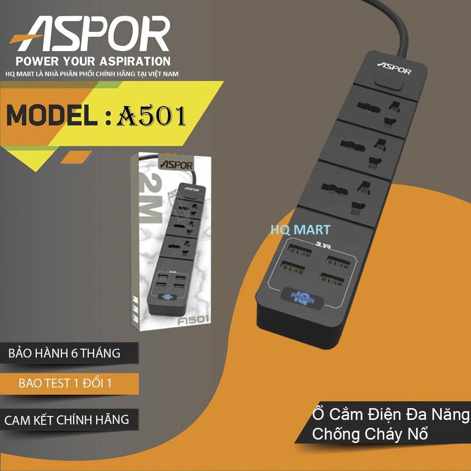 Ổ cắm điện thông minh 4 USB sạc nhanh 3.4A dây dài 2 mét ASPOR A501 EU Ổ cắm đa năng Ổ điện công tắc chip điều khiền tự động dòng điện sạc trực tiếp điện thoại di động thay thế củ sạc đảm bảo an toàn chống cháy nổ công tắc th