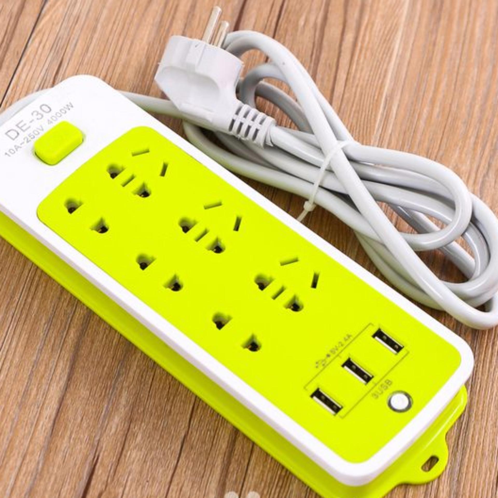 Ổ CẮM ĐIỆN ĐA NĂNG THÔNG MINH CÓ CỔNG USB SẠC NHANH 2A AN TOÀN CHỐNG GIẬT SIÊU TIỆN LỢI - Ổ CẮM ĐIỆN 6 PHÍCH CẮM 3 CỔNG USB SẠC NHANH 2A giá rẻ