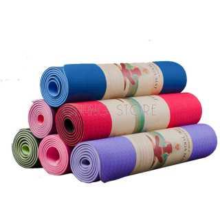 Thảm tập Yoga Gym TPE 2 LỚP Cao Su Non Dày, Êm Chống Trơn Trượt + Tặng Túi Đựng Tiện Dụng 2